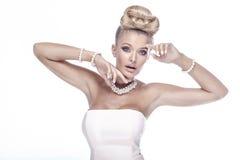 Beauty portrait of elegant blonde lady. Royalty Free Stock Photos