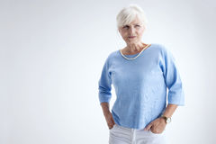 Beauty portrait of elegant senior woman. Royalty Free Stock Photography