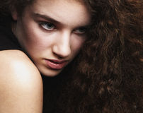 Beauty portrait of a female fashion model. Close up beauty portrait of a female fashion model Royalty Free Stock Images