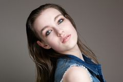 Beauty portrait of a female fashion model Stock Photography