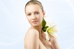 Beauty portrait with flowers, Stock Photos
