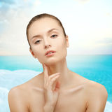 Beauty Portrait. Girl on background of the sea. Royalty Free Stock Photography