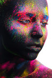 Beauty portrait of a girl with color make-up Stock Photography