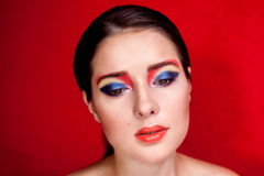 Beauty portrait of girl with colorful make up Stock Image