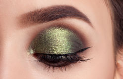 Beauty portrait girl model make-up green eyes Stock Image