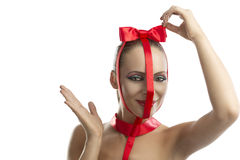 Beauty portrait of girl with red bow, Stock Images