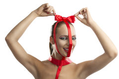 Beauty portrait of girl with red bow, Royalty Free Stock Images