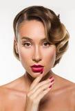 Beauty Portrait Glamour Beautiful Young Woman Touching Face Stock Photo