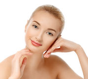Beauty Portrait Glamour Beautiful Young Woman Touching Face Stock Photography