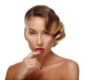 Beauty Portrait Glamour Beautiful Young Woman Touching Lips. Royalty Free Stock Photography