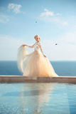 Beauty Portrait of gorgeous bride in wedding dress with blowing skirt Stock Photo