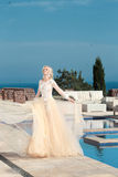 Beauty Portrait of gorgeous bride in wedding dress  Royalty Free Stock Photography