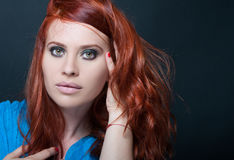 Beauty portrait of gorgeous lady with redhair. And smokey makeup Royalty Free Stock Photos