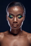 Beauty portrait of handsome ethnic african girl with closed eyes Stock Images