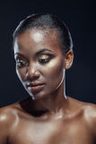 Beauty portrait of handsome ethnic african girl, on dark backgro Royalty Free Stock Photo