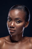 Beauty portrait of handsome ethnic african girl, on dark backgro Stock Photos
