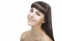 Beauty Portrait of Happy Smiling Brunette Woman Stock Photo