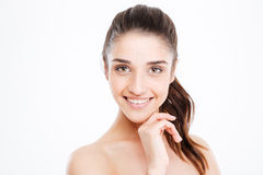 Beauty portrait of happy young woman standing and smiling Royalty Free Stock Images
