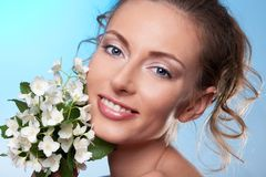 Beauty portrait and jasmine  flowers Royalty Free Stock Photos