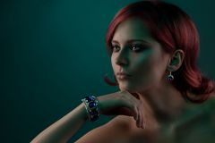 Beauty portrait with jewelry bracelet Royalty Free Stock Photography