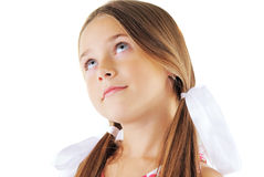 Beauty portrait of little girl with bows. On white background Royalty Free Stock Photography