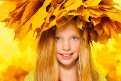 Beauty portrait of little girl in maple wreath Stock Photography