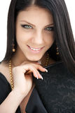 Beauty portrait of long haired smiling young brunette woman Royalty Free Stock Photo