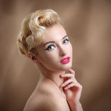 Beauty Portrait with make-up and hairstyle. Royalty Free Stock Image
