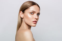 Beauty portrait of model with natural make-up Stock Photos