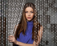 Free Beauty Portrait Of Attractive Woman With Bead Curtain Royalty Free Stock Photos - 69897288