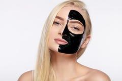 Free Beauty Portrait Of Girls. Skin Care Face, Black Mask. Stock Image - 87287311