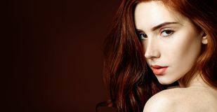 Beauty Portrait Of Redhead Woman With Perfect Skin. Royalty Free Stock Photography