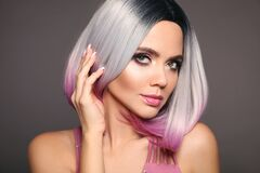 Free Beauty Portrait Of Woman With Ombre Bob Short Hairstyle. Beautiful Coloring  Hair. Trendy Puprle Haircut. Blond Model With Short Royalty Free Stock Image - 178637766