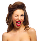 Beauty portrait of pinup girl Stock Photos