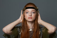 Beauty portrait of a pretty redhead woman Royalty Free Stock Photography