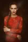 Beauty portrait of pretty woman Stock Photos