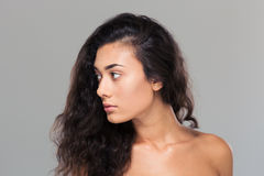 Beauty portrait of a pretty woman looking away Stock Photos