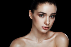 Beauty Portrait of Pretty Woman with Strobing Makeup. Wet Body E Stock Photos