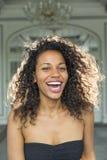 Beauty portrait of pretty young mulatto woman with beautiful mak Stock Photo
