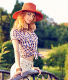 Beauty portrait redhead woman smiling, park, lifestyle, people Royalty Free Stock Images