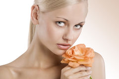 Beauty portrait with rose Royalty Free Stock Photos
