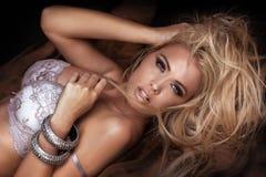 Beauty portrait of sensual blonde woman. Stock Photo