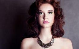 Beauty portrait of sensual brunette girl. stock images