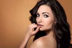 Beauty portrait of sensual brunette woman. Royalty Free Stock Images
