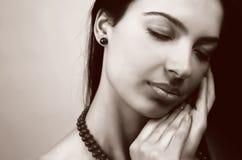 Beauty portrait of sensual feminine woman stock photo