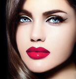 Beauty portrait of sensual model with colorful makeup Royalty Free Stock Image