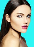 Beauty portrait of sensual model with no makeup clean skin Royalty Free Stock Photos