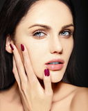 Beauty portrait of sensual model with no makeup clean skin Royalty Free Stock Images