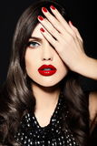 Beauty portrait of sensual model with red lips Stock Image