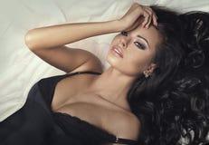 Beauty portrait of sexy brunette lady. Stock Photo
